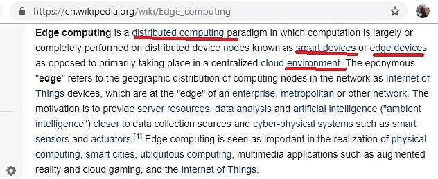 Wikipedia definition Edge Computing