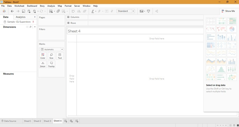 Tableau Dashboard homepage screen
