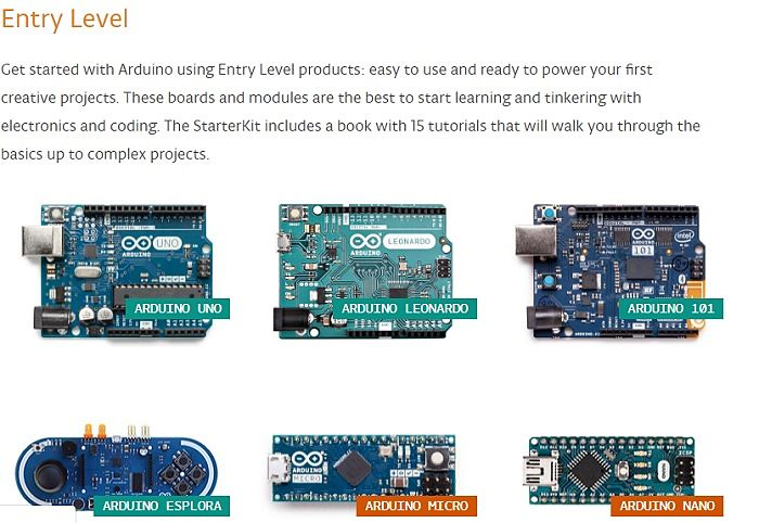 Arduino Entry Level Boards Selection