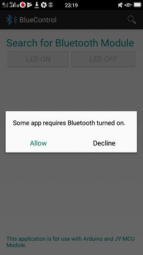 Bluetooth Turn On Bluecontrol App