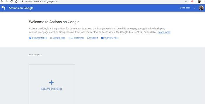 Console Action Google Developer Account