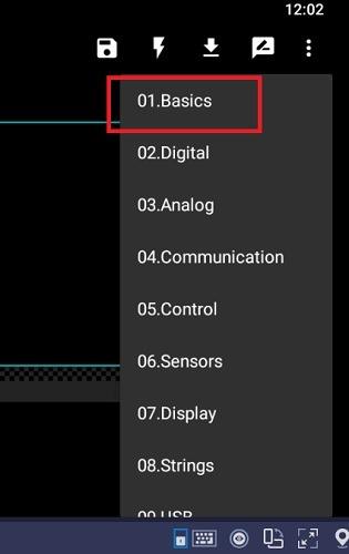 Select Sketches Basics Arduinodroid