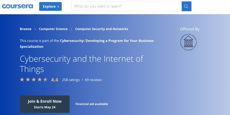 Iot Security Courses Coursera Cybersecurity And The Internet Of Things