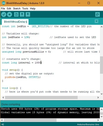 Arduino Blink Without Compiling Done