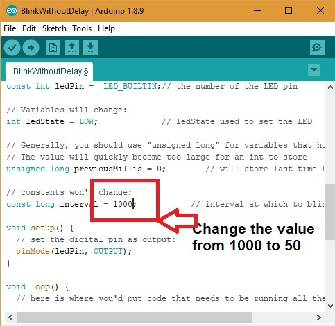 Arduino Blink Without Delay Change Value