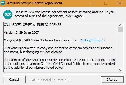 Arduino Set Up License Agreement