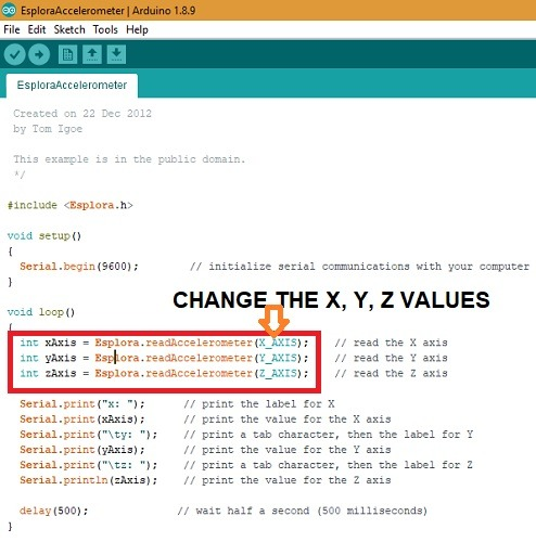 Arduino Esplora Change X Y Z Values