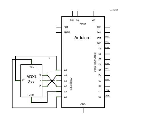 Arduino Uno With Adxl 3xx Accelerometer