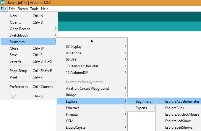 Arduino Esplora Accelerometer Code
