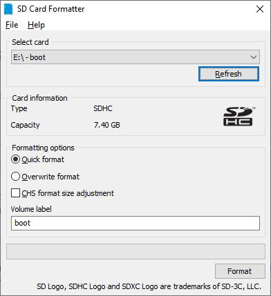 Raspberry Pi Formatting Sd Format Tool