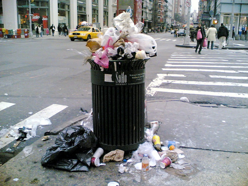Smart City Garbage Overflowing Trash Can