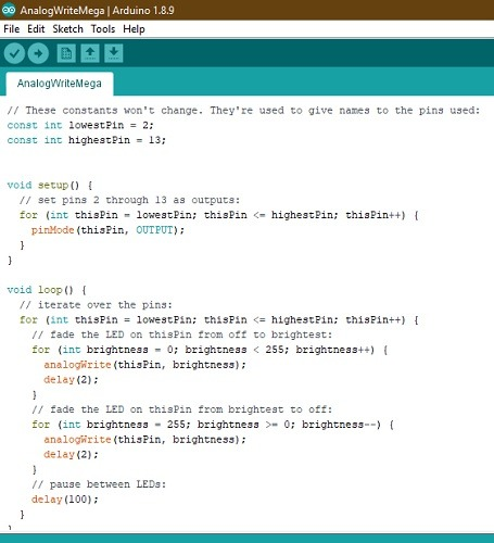 Arduino Write Mega Code
