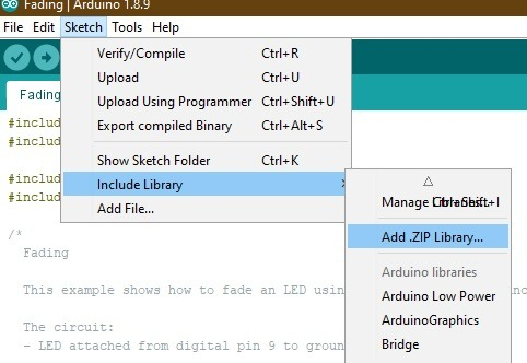 Add Zip File Arduino Ide