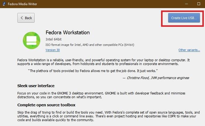 Fedora Create Live Usb