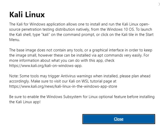 Kali Linux Installation Microsoft Store