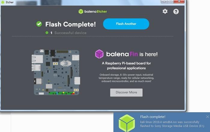 Success Status Flashing Kali Linux On Usb Drive Using Etcher