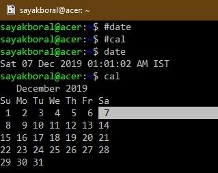 Date Calendar Commands Kali Linux